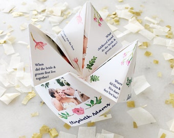 Printable FLEXIBLE Photo Cootie Catcher/Fortune Teller - Flexible Template -Mother's day -  Bridal Shower - Communion - Birthday