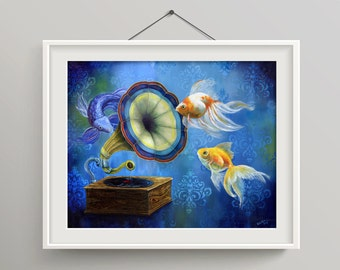 Phonograph Phish - Goldfish and Koi Print