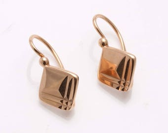 Vintage 14k rose gold square drop wire earrings Vintage USSR Estate