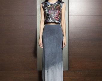 Grey Ombre Maxi Skirt, long dip dye boho skirt maxi plus size long Skirt gypsy festival skirt festival best friend gift bohemian skirt