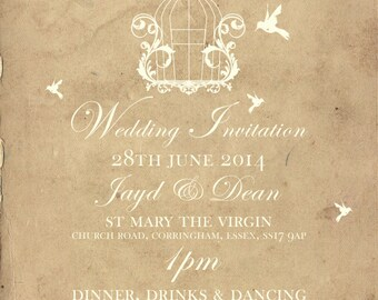 50 Old Vintage Country Shabby Chic Birdcage Wedding Invitations