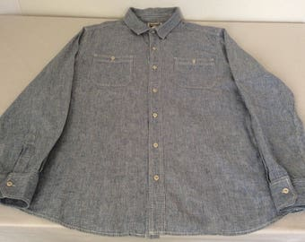 Converse One Star Vintage Mens XL Blue Conductor Stripe Shirt Long Sleeve Button Front