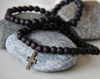 long cross necklace wooden sandalwood beads genuine pendants to choose)