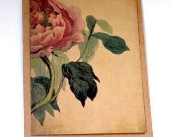 Victorian Peony Card, Blank Card, Botanical Card, Victorian Card, Handmade Card, Flower Greeting Card