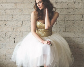 Sequin Sweetheart Strapless Tea Length Ivory and White Tulle Party Dress - Étoile by Cleo and Clementine