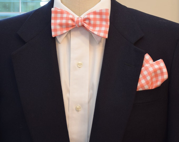 Men's Pocket Square and Bow Tie in coral and white large gingham check, wedding party wear, groomsmen gift, groom bow tie set, men's gift