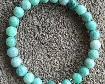 Please energized Bracelet please well being, meditation, Amazonite grade A, silver plated bali style bead