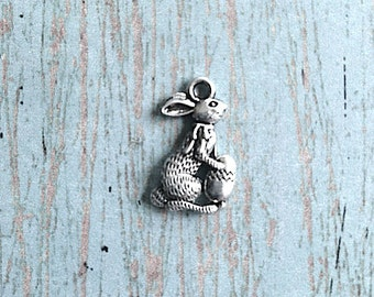 8 Easter bunny charms (2 sided) antique silver tone - Easter rabbit charms, rabbit pendants, Easter charms, bunny charms, holiday charm, N10
