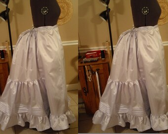 Victorian Bustle Era Petticoat. Various Fabric Options. Taffeta, cotton, etc.. Made to order, any size, any length.