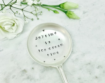 Personalised Ice Cream Spoon, Hand Stamped Silver Plated Spoon, Customised Vintage Dessert Spoon, Unique Birthday Gift Idea, Bridesmaid Gift