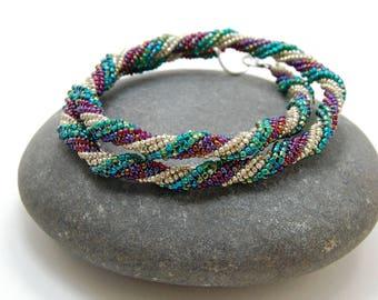 Christmas Beaded Bracelet, Bangle, Beaded Necklace, Herringbone Bracelet, Holiday Jewelry, Silver Jewelry, Unique Jewelry