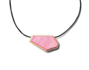 Wood (Skateboard) Necklace and Leather Pink, Burgundy, Beige - Reversible - 15po Women Children Teen Girl Young Skateboarder Laminated Surf