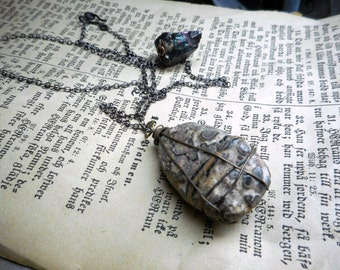The Ancients Pendant Necklace.  Rare chunky Crinoid Fossil Stone Wire Wrapped pendant , & Black Quartz Asymmetrical Necklace Handmade Ooak