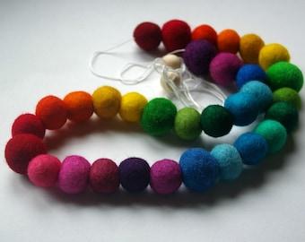 Rainbow Wool Bead Garland Kit : DIY Hand Dyed Felted Wool Ball Banner (4-6 foot Decoration) Craft Kit