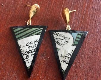 Handmade geometric comics 80s triangle earrings