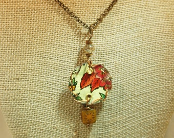 Reversible Upcycled Floral Tin Necklace