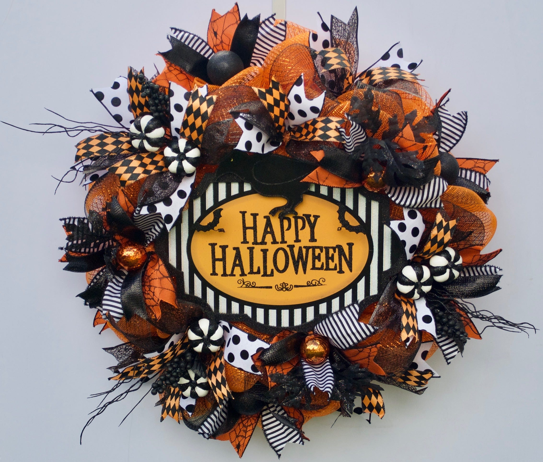 Black Flower And Crow Halloween Wreath: Happy Halloween Wreath Trick Or Treat Wreath Black Crow