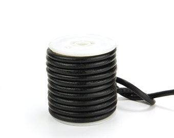 Black Round Leather Cord, 5mm Leather Cord, Genuine Leather Cord, Pkg of 10 ft., D0F8.BK59.L10F