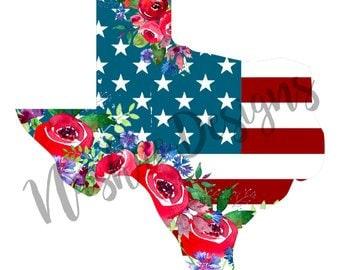 Texas With USA Flag T-Shirt