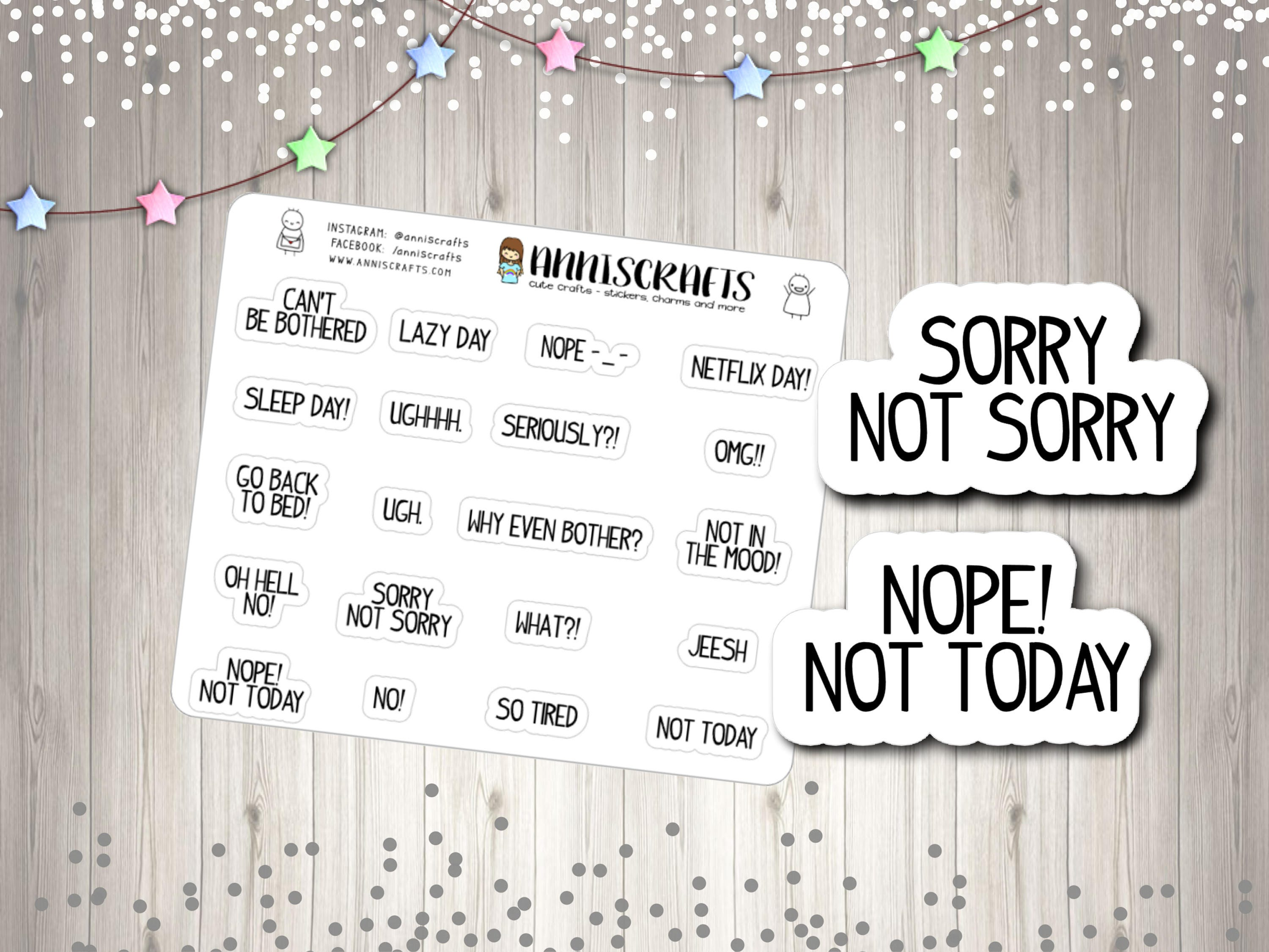Bad Planner 20 bad mood planner stickers bad day mood angry text planner