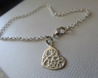 Heart charm silver anklet by charmed