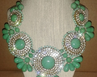 Seafoam Mint Green and Crystal Bib Statement Necklace - Statement Jewelry - Chunky Bib Statement Necklace