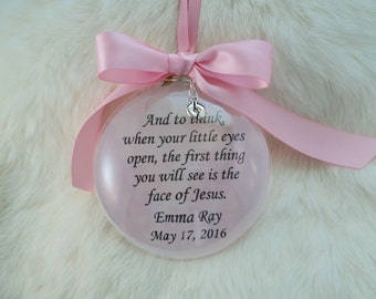 Miscarriage Memorial Glass Ornament When Your Little Eyes Open, with Pink Background, Free Personalization and charm
