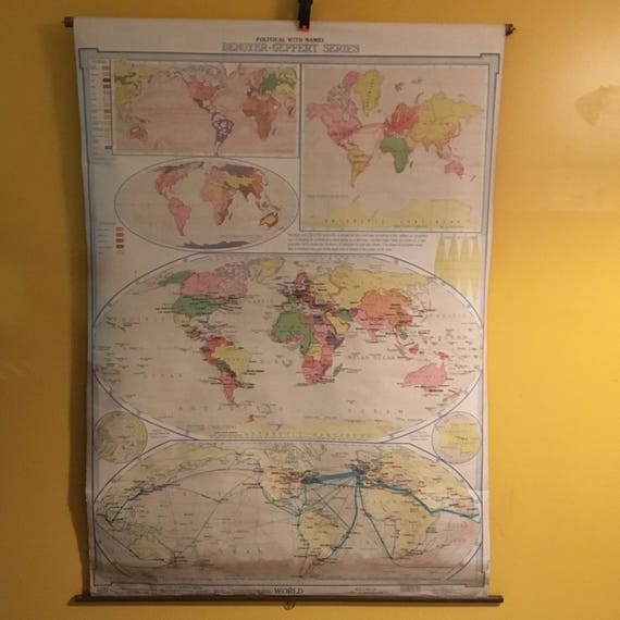 1920s Denoyer Geppert School Wall Map of the World