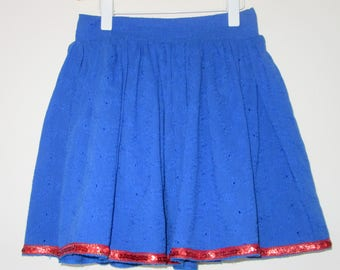 Royal Blue Cotton Embroidery Skirt