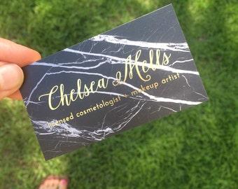 Foil Business Cards for Hair Salon, Beauty Blogger, Microblading Eyelash, Hair Stylist, Nail Artist, Marble, Makeup Artist, Stylist