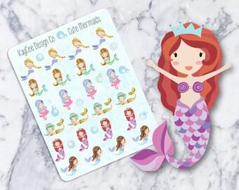 Cute Mermaids / Planner Stickers / Hand Drawn / Tracking /  Fits Erin Condren & MAMBI / Filofax / Kikki K / Scrapbook
