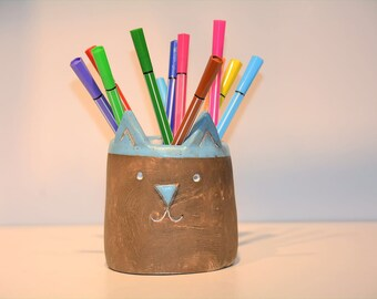 Ceramic, pottery, cat, cactus pot, pancel holder, candle holder, handmade