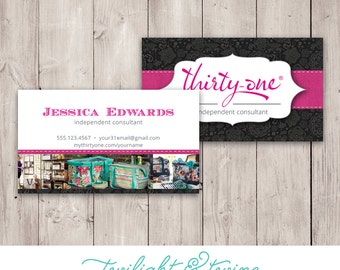 Thirty-one Business Card Template - Black - Custom PDF, Printable, Template ( Consultant, Thirty One, 31, Vista Print, BC )