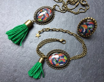 Multicolored pattern jewelry, necklace, ring, bracelet, cabochon glass bronze creation original gift