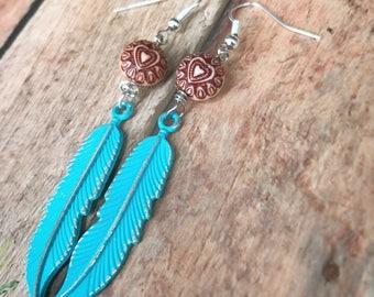 Boho Earrings. Blue Earrings. Heart Jewelry. Bohemian. Feather. Leaf Earrings