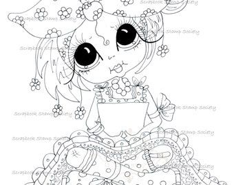 INSTANT DOWNLOAD Digital Digi Stamps Big Eye Big Head Dolls Digi  IMG780 By Sherri Baldy