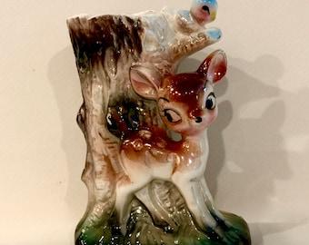 Vintage Deer Bambi Planter, Big eye Deer, Spotted Deer, Deer Vase, Blue bird, Mid Century planter, Nursery Decor, Baby Shower, Baby Gift