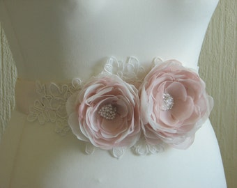 Wedding ivory sash Blush wedding sash Ivory wedding sash Blush wedding flower Champagne wedding sash Blush ivory wedding Blush wedding dress