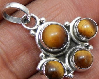 100% Solid 925 Sterling Silver Tiger's Eye Gemstone Handmade Jewelry Pendant
