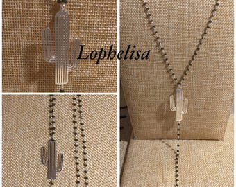 Cactus jewelry of creator lophelisa feather silver grey faceted beaded chain necklace