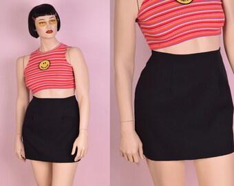 90s Black Mini Skirt/ US 9/ 29 Waist/ 1990s