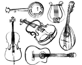 BUY 2 GET 1 FREE musical instruments clipart / musical