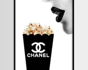 Chanel drucken, moderne print, Mode Kunst, Chanel, minimalistisch, digitale Kunst, Pop corn, Printable, Digital print sofortigen Download 11 x 14, 16 x 20