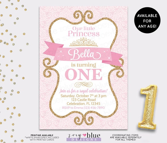 Princess Birthday Invitation Girl Gold Glitter Pink Gold