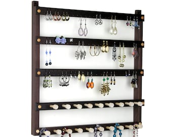 Jewelry Organizer - Peruvian Walnut Earring Holder, Wall Mount, Wooden, 2 Necklace Bars. 72 pairs of Earrings, 19 pegs. Jewelry Holder