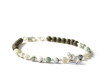 Essential Oil Charm Bracelet, Tree Agate and Lava Rock, Aromatherapy Diffusing Jewelry