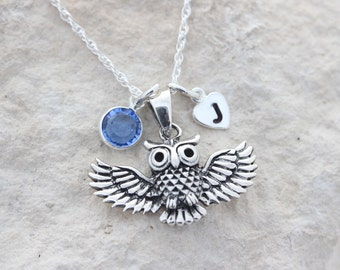 Personalized Sterling silver owl necklace, Sterling owl pendant necklace, silver owl jewelry, silver Owl, birthstone initial Owl Necklace