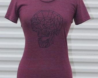 SALE- Burgundy / Red Geometric Skull American Apparel Tshirt