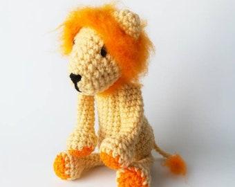 Crochet Lion/ Crochet Animal/ Amigurumi Lion/ Plush Lion Stuffed Animal/ Orange and Yellow Plush Lion/ Crochet Amigurumi/ Child Toy/ Crochet