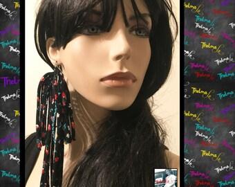 Fabric earrings,cloth earrings,flower earrings,statement earrings,dangle earrings